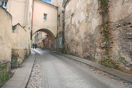 backstreet: Walk along the street in Vilnius old town, Lithuania.
