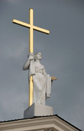 helena: Statue of Saint Helena (Helena Augusta or Helena of Constantinople) on pediment of Vilnius Cathedral in Vilnius, Lithuania.