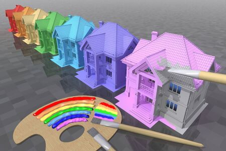 maquette: Colouring of residential houses in colours of a rainbow. 3D rendered picture.
