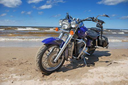 Bike on the bank of Baltic sea. Stock Photo