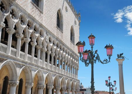 doges: The Doges palace and the column of the Lion of Saint Mark in Venice, Italia. Stock Photo