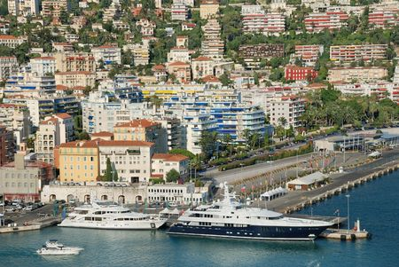 nice  france: The harbour and port of Nice, France.