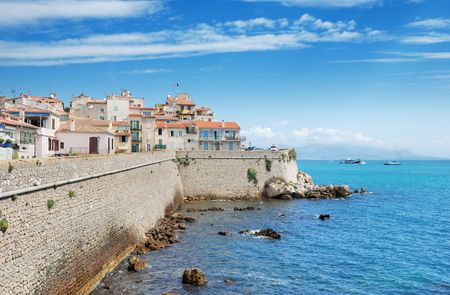 Ligurian sea and coastal wall in Antibes, France.