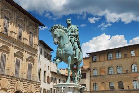 Equestrian statue of Cosimo I de Medici on the Piazza della Signoria, by Giambologna. Florence, Italy.