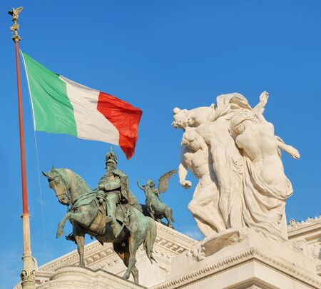 Monument Vittorio Emanuele II or Altar of the Fatherland in Roma, Italy.