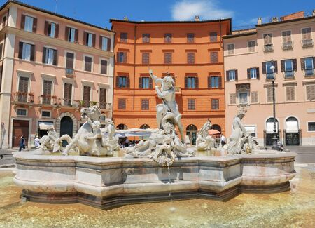 the fountain with angels: The fountain of Neptune on Navona square in Rome, Italy.