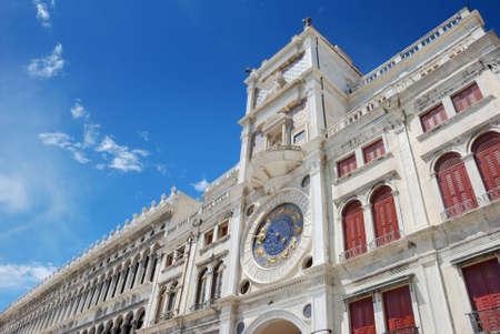 procuratie: St. Marks Clocktower (Torre dellOrologio) on the San Marco square in Venice, Italia. Stock Photo
