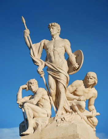 altar of fatherland: Sculptural group near to Monument of Victor Emmanuel II (Altar of the Fatherland) in Roma, Italy. Stock Photo