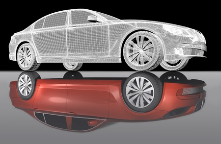 maquette: 3D isometric view of abstract car with mirror reflexion. Stock Photo