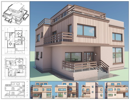 balcony design: 3D isometric view of abstract residential house. Stock Photo
