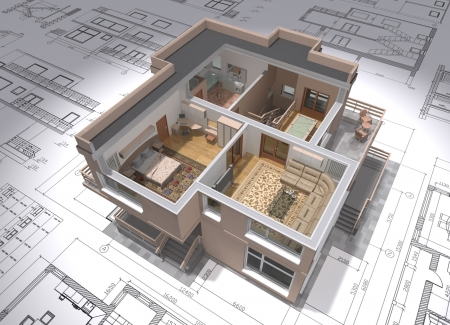 architectural exterior: 3D isometric view of the cut residential house on architect drawing.
