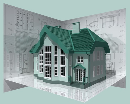 maquette: 3D isometric view of the residential house on architect drawing. Picture with clipping path.