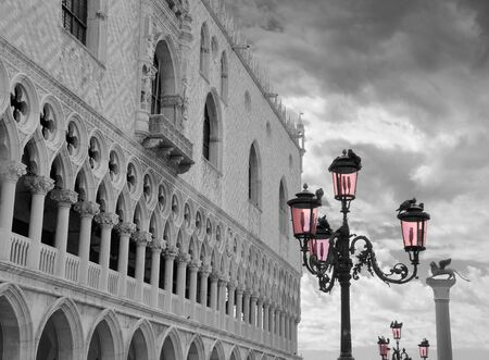 doges: Pink lantern near to Doges palace on the San Marco square in Venice, Italy.