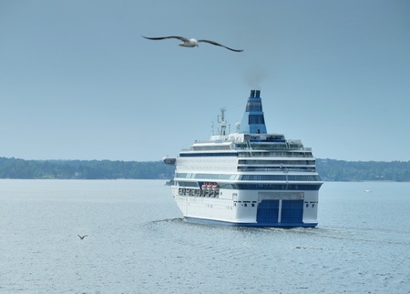 baltic sea: Passenger cruise ferry boat moves to port in Baltic.