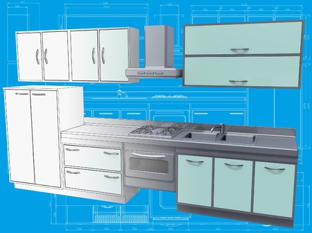 maquette: 3D isometric view of the abstract kitchen on blueprint.  Stock Photo