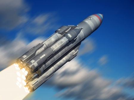 rocket launch: Russian carrier rocket launch. 3d image.