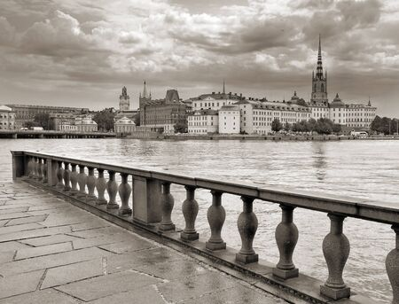 europe vintage: The panorama of Stockholm, Sweden. Stock Photo