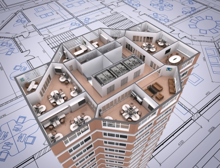 floor plans: 3D cut of office building on architects drawing. Stock Photo