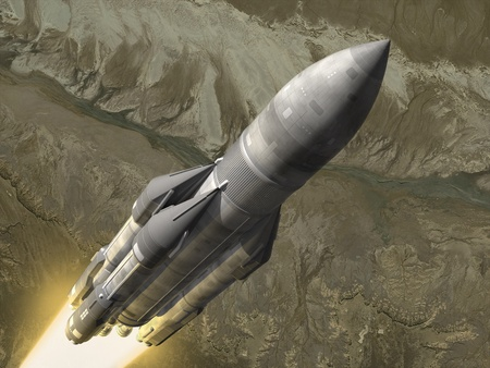 Russian carrier rocket launch. 3d image.