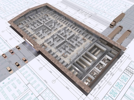 floor plan: 3D cut of shop building on architects drawing.