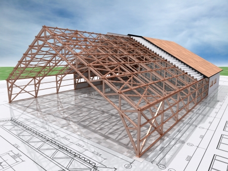 3d Isometric view the skeleton of an industrial building on architect�s drawing. Skeleton isolated with clipping path.