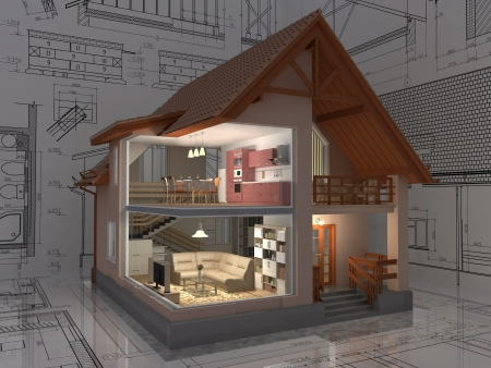 house render: 3D isometric view of the cut residential house on architect drawing