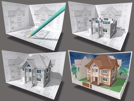 maquette: Cottage under construction. 3D isometric view of residential house on architect drawing. Image with clipping path.