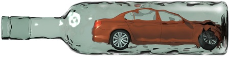 traffic violation: The drunk driver has made crash. 3d image with clipping path.