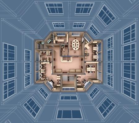 downwards: Interior of office building look downwards.