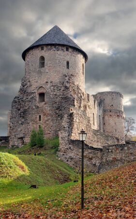 13th century: The Western Tower of the Cesis castle, Latvia. Early 13th century. Editorial