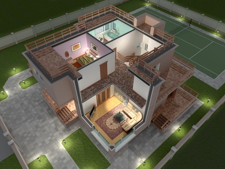 maquette: 3D isometric view of the cut residential house.
