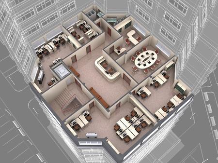 muebles de oficina: Interior de la baja de oficina aspecto del edificio. Imagen en 3d.