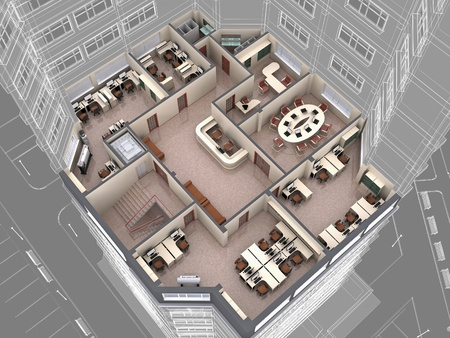 office plan: Interior of office building look downwards. 3d image.