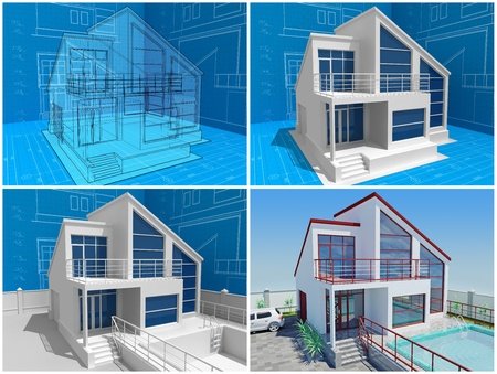 The cottage under construction. 3D isometric view of residential house on architect drawing. Image with clipping path.