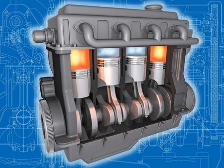 voiture de pompiers: 3D coupe de moteur de voiture travaillant sur le dessin technique. Image avec chemin de détourage. Banque d'images
