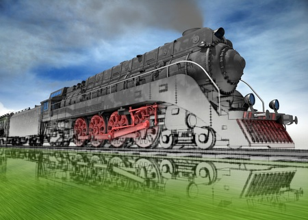 visualisation: Steam locomotive stylised as a sketch, 3d image. Stock Photo