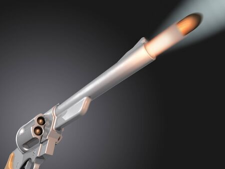 visualisation: Bullet being fired from a revolver, 3D image.