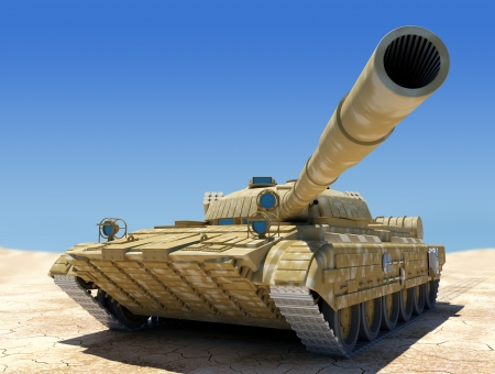 military forces: Army tank in desert, 3d image.