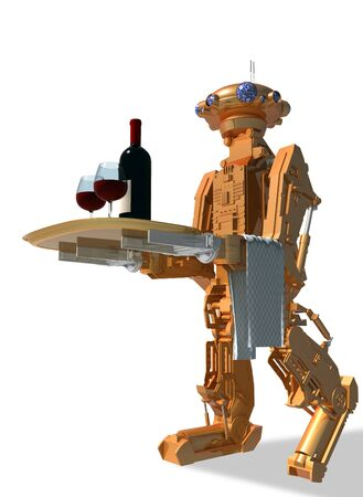 The robot as the stainless waiter. 3d render.  photo
