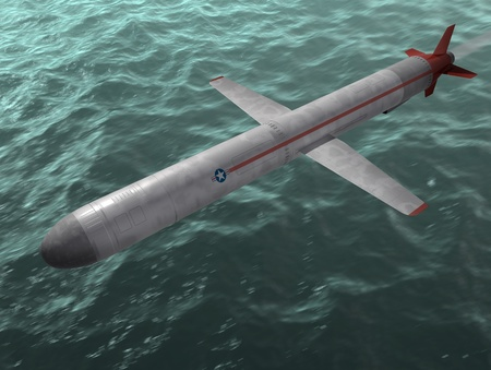 cruise missile: The cruise missile flies over the sea. 3d image. Stock Photo