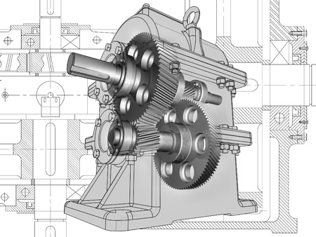 maquette: 3D cut of reducer on the engineering drawing. Image with clipping path.