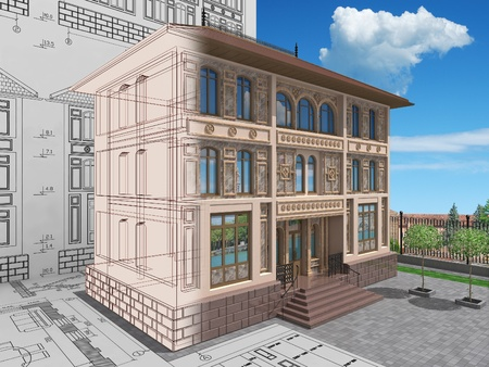 Designing of the residential house. 3D image.
