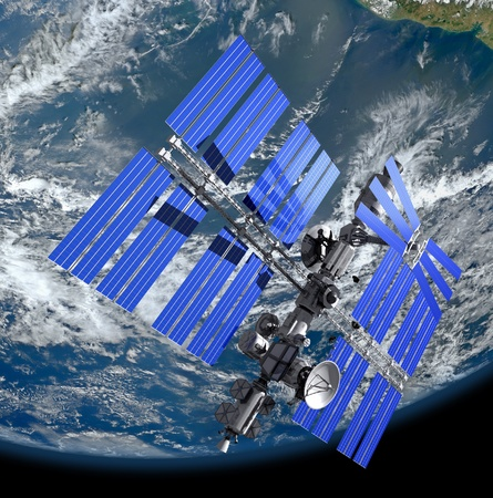 orbiting: Space satellite, 3D image.