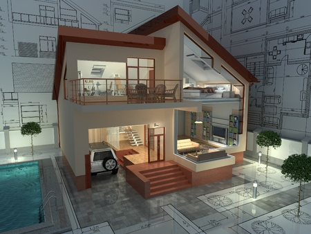 dwelling: The project of residential house. 3D image.