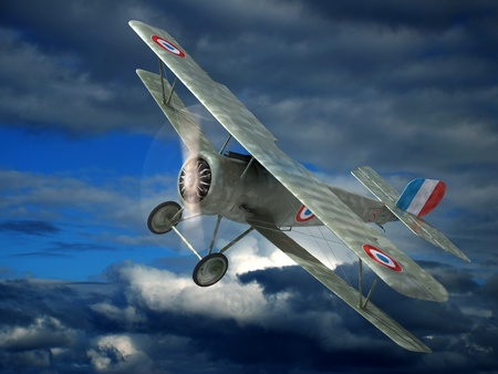 biplane: The fighter airplane of times of the World War I  3D image