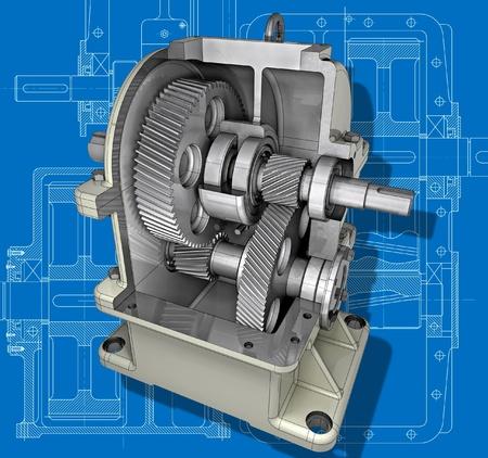 Der Druckminderer Querschnitt auf der technischen Zeichnung 3D-Bild Standard-Bild - 12638774