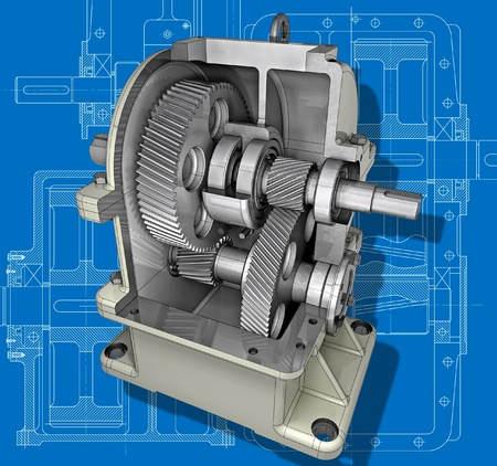 gearbox: The reducer cross-section on the engineering drawing  3D image Stock Photo