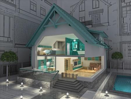 주거 집의 프로젝트. 3D 이미지입니다.