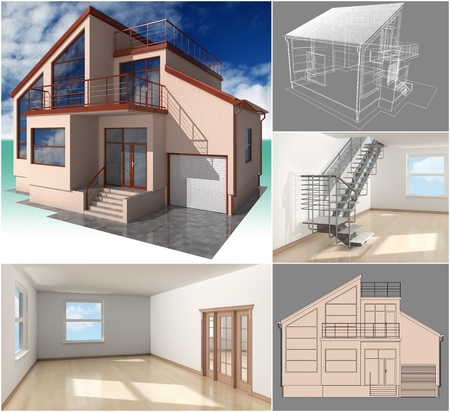 handrail: The project of residential house. 3D image.