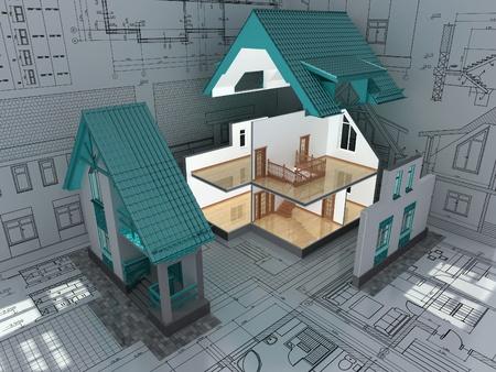fachadas de casa: La secci�n transversal de la casa residencial en el plano de arquitecto. Imagen en 3D. Foto de archivo